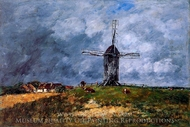 Cayeux, Windmill in the Countryside, Morning painting reproduction, Eugene-Louis Boudin