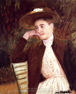 Celeste in a Brown Hat painting reproduction, Mary Cassatt