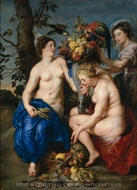 Ceres with Two Nymphs painting reproduction, Peter Paul Rubens