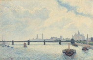 Charing Cross Bridge, London painting reproduction, Camille Pissarro