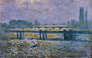 Charing Cross Bridge, Reflections on the Thames painting reproduction, Claude Monet