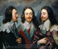 Charles I in Three Positions painting reproduction, Sir Anthony Van Dyck