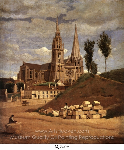 Jean-Baptiste Camille Corot, Chartres Cathedral oil painting reproduction