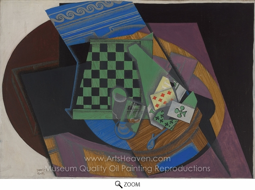 Juan Gris, Checkerboard and Playing Cards oil painting reproduction