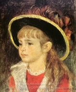 Child with Hat painting reproduction, Pierre-Auguste Renoir