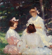 Children in Woods painting reproduction, Frank Weston Benson