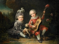 Children of the Marquis de Bethune Playing with a Dog painting reproduction, Francois-Hubert Drouais