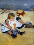 Children on the Shore painting reproduction, Mary Cassatt