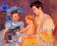 Children Playing with a Cat painting reproduction, Mary Cassatt