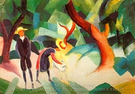 Children with Goat painting reproduction, August Macke