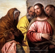 Christ and the Widow of Nain Woman taken in Adultery painting reproduction, Paolo Veronese
