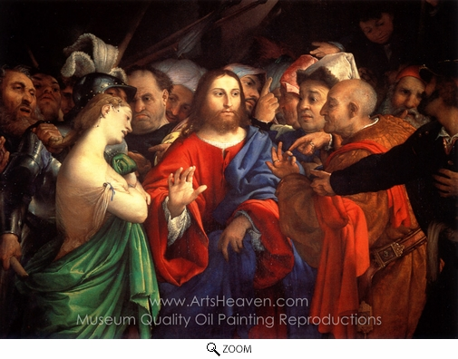 Lorenzo Lotto, Christ and the Woman Taken in Adultery oil painting reproduction