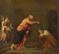 Christ Baptising Saint John Martyr painting reproduction, Paris Bordone