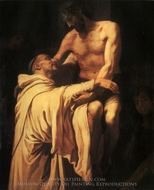 Christ Embracing Saint Bernard painting reproduction, Francisco Ribalta