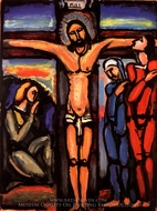 Christ on the Cross painting reproduction, Georges Rouault