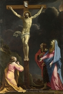 Christ on the Cross with the Virgin and Saints painting reproduction, Eustache Le Sueur