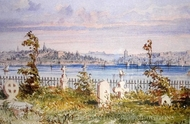 Christian Cemetery painting reproduction, Amedeo Preziosi