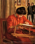 Christine Lerolle Embroidering painting reproduction, Pierre-Auguste Renoir
