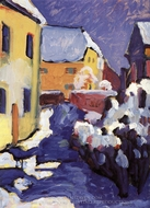 Church Yard and Vicarage in Kochel painting reproduction, Wassily Kandinsky