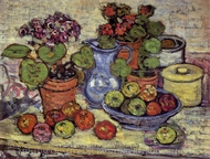 Cinerarias and Fruit painting reproduction, Maurice Prendergast