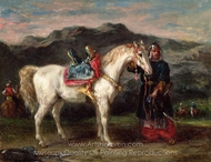 Circassian Holding a Horse by its Bridle painting reproduction, Eugene Delacroix