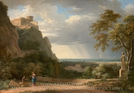 Classical Landscape with Figures and Sculpture painting reproduction, Pierre Henri De Valenciennes