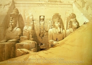 Colossal Figures In Front of the Great Temple of Abu Simbel painting reproduction, David Roberts