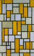 Composition with Gray and Light Brown painting reproduction, Piet Mondrian