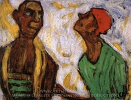 Conversation between Two Clowns painting reproduction, Paula Modersohn-Becker