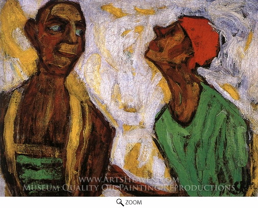 Paula Modersohn-Becker, Conversation between Two Clowns oil painting reproduction