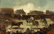 Corrida de Toros en un Pueblo painting reproduction, Francisco De Goya