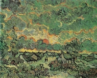 Cottages and Cypresses: Reminiscence of the North painting reproduction, Vincent Van Gogh