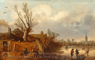 Cottages and Frozen River painting reproduction, Esaias Van De Velde