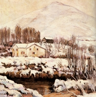 Cottages in a Snowy Landscape painting reproduction, Alexander Altman