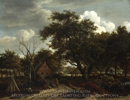 Cottages in a Wood painting reproduction, Meindert Hobbema