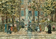Court Yard, West End Library, Boston painting reproduction, Maurice Prendergast