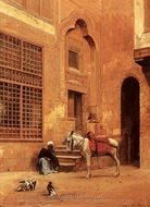 Courtyard painting reproduction, Eugene Alexis Girardet
