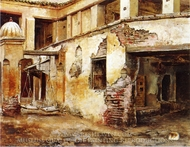 Courtyard in Morocco painting reproduction, Edwin Lord Weeks