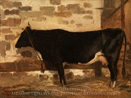 Cow in a Stable painting reproduction, Jean-Baptiste Camille Corot