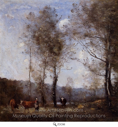 Jean-Baptiste Camille Corot, Cowherd in a Clearing Near a Pond oil painting reproduction