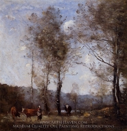 Cowherd in a Clearing near a Pond painting reproduction, Jean-Baptiste Camille Corot