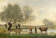 Cows in a Marshy Landscape painting reproduction, Jean-Baptiste Camille Corot