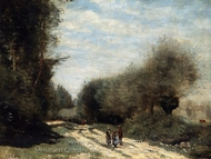 Crecy-en-Brie Road in the Country painting reproduction, Jean-Baptiste Camille Corot