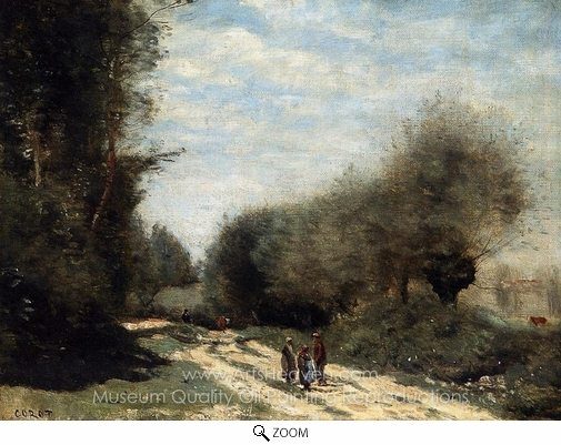 Jean-Baptiste Camille Corot, Crecy-en-Brie Road in the Country oil painting reproduction