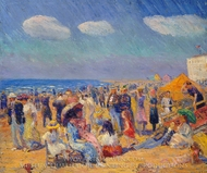 Crowd at the Seashore painting reproduction, William James Glackens