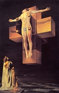 Crucifixion (Corpus Hypercubicus) painting reproduction, Salvador Dali (inspired by)