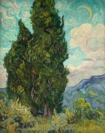 Cypresses painting reproduction, Vincent Van Gogh