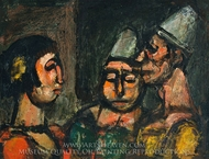 Dancer with Two Clowns painting reproduction, Georges Rouault