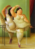 Dancers at the Bar painting reproduction, Fernando Botero