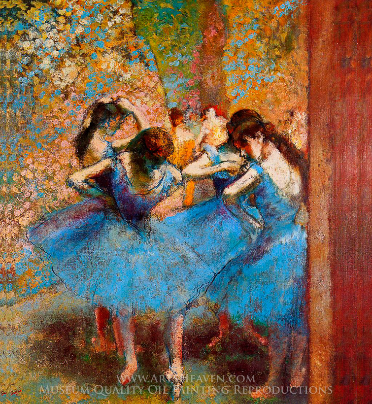 Reproduction painting edgar degas dancers in blue hand for Blue paintings on canvas